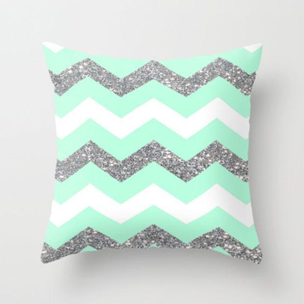 seafoam glitter chevron Throw Pillow by Hannah