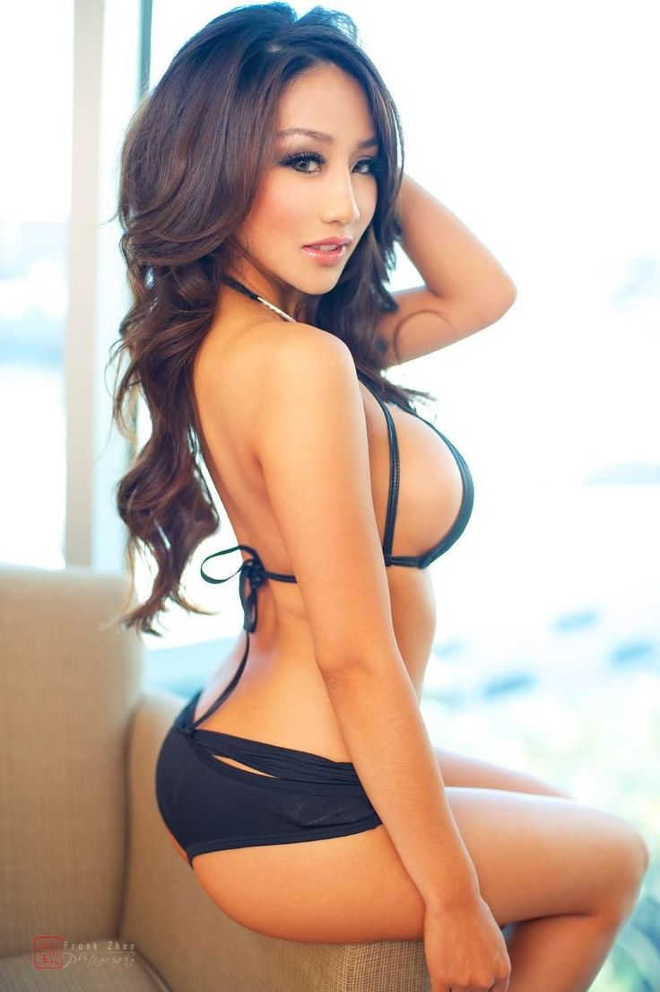 Sexy asian girl on bed stock photo