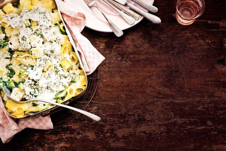 Kijk wat een lekker recept ik heb gevonden op Allerhande! Rigatoni met spinazie, venkel en kaas