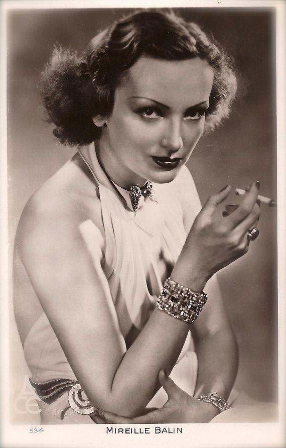 Mireille Balin, French Film Actress Femme Fatale Glamour Vamp Diva Chic Elegance Diamonds Cigarette Original Rare 1930s Photo Postcard