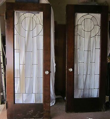 Antique solid wood leaded glass interior french door set - Solid wood interior doors with glass ...