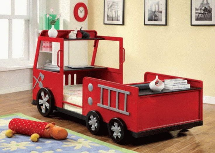Beautiful, Cute and Playful Fire Truck Bed for Boys with Storage ...