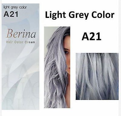 Berina A21 Light Grey Silver Hair Dye Color Permanent Cream Unisex - Punk Style