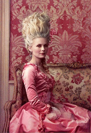 "Maria Antonia, Archduchess of Austria, and later Marie-Antoinette, Queen of France, as portrayed by Kirsten Dunst in Sofia Coppola's 2006 ""Marie-Antoinette."""