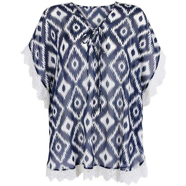 Boohoo Plus Diana Printed Crochet trim Overhead Kaftan ($35) ❤ liked on Polyvore