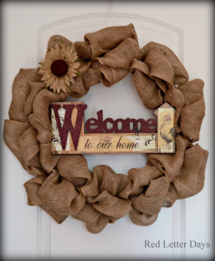 Welcome Burlap Wreath Summer wreath with by RedLetterDaysStudio, $50.00