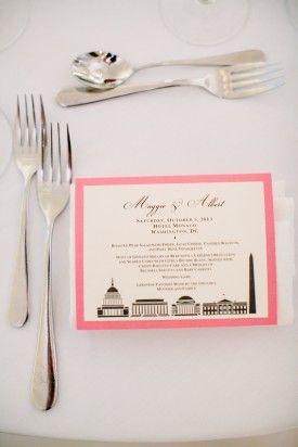 Washington DC Wedding Reception Skyline Menu Card 275x412 Elegant Black Tie Wedding Reception in Washington DC: Maggie + Albert