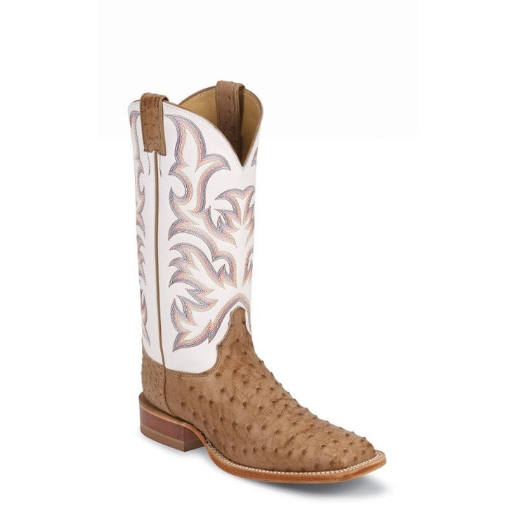@Justin Boots Mens Antique Tan Full Quill Ostrich Boot. Authentic Cowboy Boots for men, women and kids.