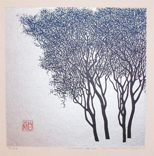 Artist: Haku Maki Title:Winter Tree woodblock print 1972