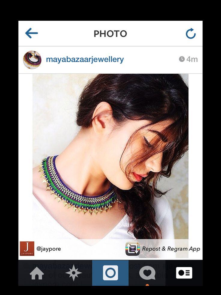 #mayabazaar on #instagram @jaypore #repost #neckpiece #ss14 #romanvintage #metallicaccents #crochet #sustainable #handmade #colourful #traditional #modern #statement #bold #love #getitnow #shop