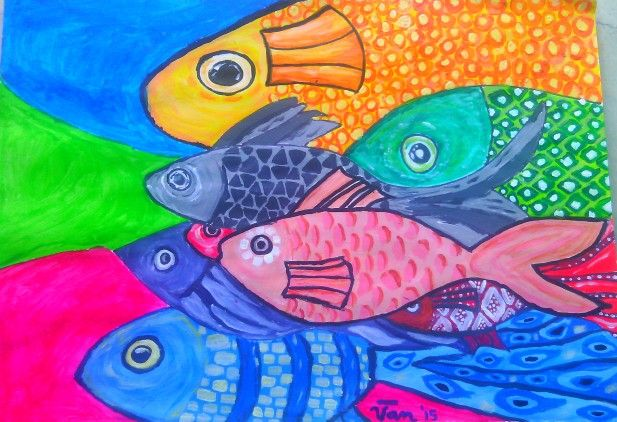 Fishes in Acrylic by Mommy Van