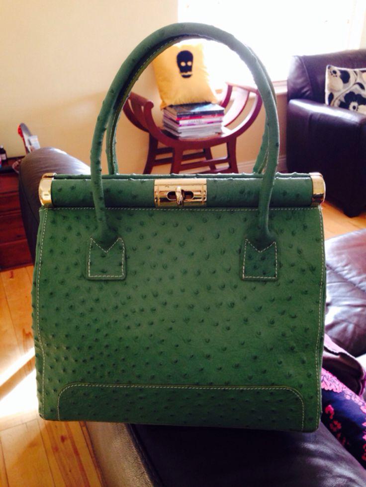 Green top handle bag