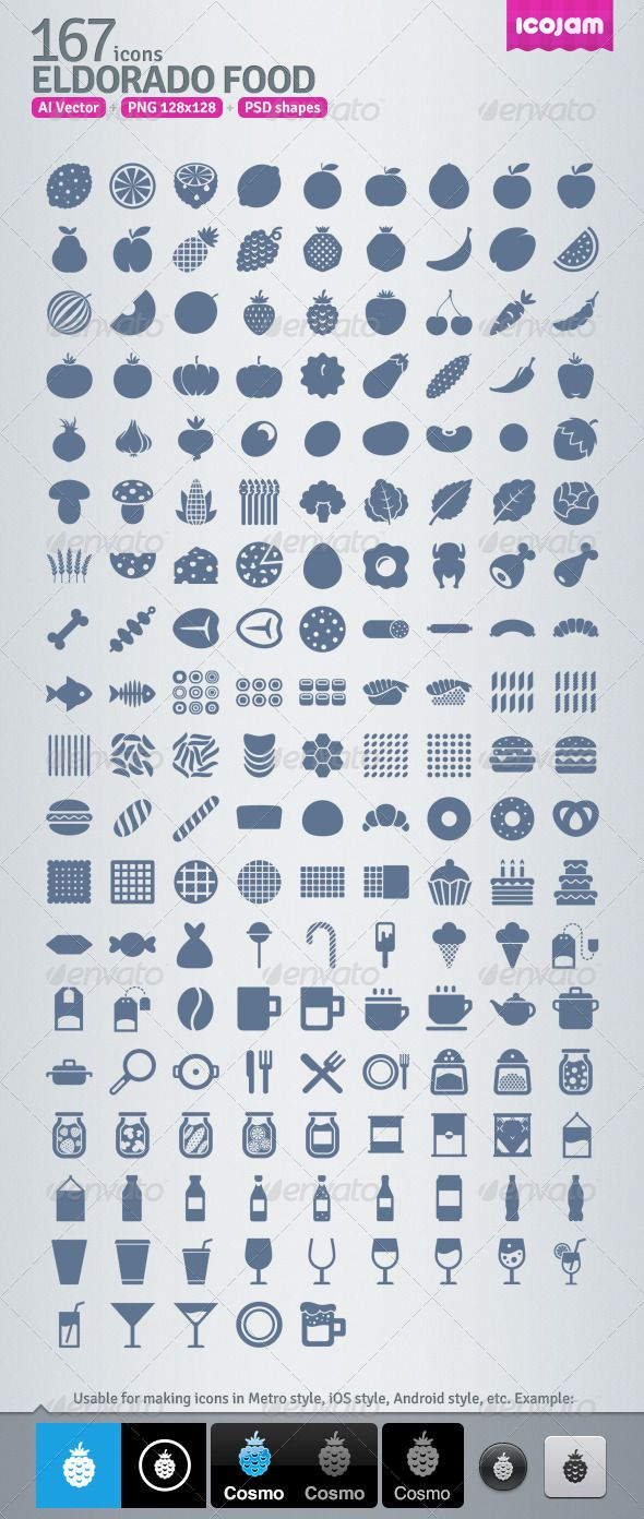 167 AI and PSD Food strict Icons   #GraphicRiver         Eldorado Food contains 167 vector icons in AI and PSD. Raster version is also included as 128×128 sized PNG. Icons are a good choice to use in web, iOS, android and other applications. Strong and serious style.     Created: 14March13 GraphicsFilesIncluded: PhotoshopPSD #TransparentPNG #AIIllustrator HighResolution: Yes Layered: Yes MinimumAdobeCSVersion: CS Tags: android #apple #baking #burger #candy #citrus #dishes #food #fruit #icons…
