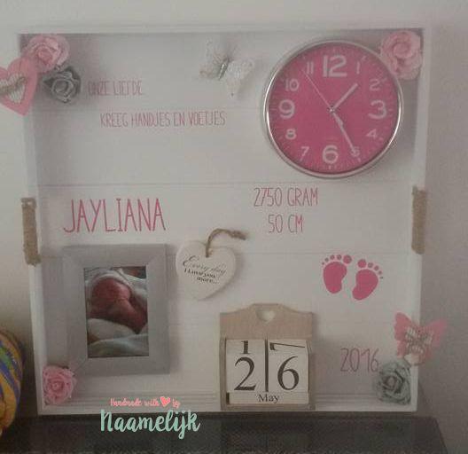 Uniek geboortebord van Jayliana, zelf gemaakt met een stickerset van 9,95 en…
