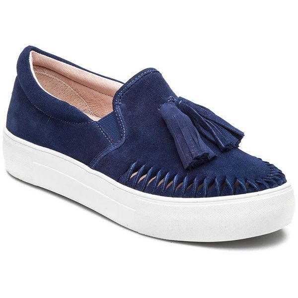 J/SLIDES Aztec Navy Suede Slip On found on Polyvore featuring shoes, loafers, navy suede, platform loafers, suede slip on shoes, navy loafers, slip-on shoes and tassle loafers