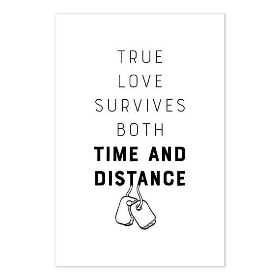 Military Wife Poster, True Love Survives Both Time And Distance Quote Art Print, Army Wife Gift, Navy Wife Art, Gift For Military Wife #ad