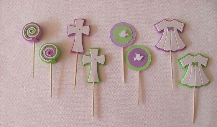 cupcake toppers bautizo