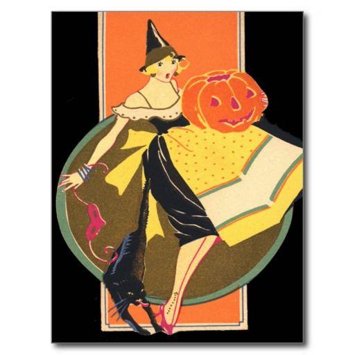 Art Deco Witch Jack O Lantern Pumpkin Black Cat Postcards
