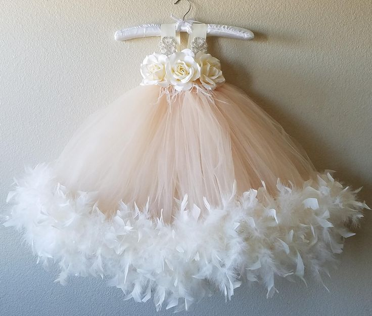 Flower Girl Dress, Ivory tutu dress, champagne Flower Girl Tutu Dress, Wedding tutu dress, blush flower girl tutu dress, flower girl by GiaGiaCouture on Etsy