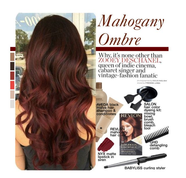 """""""Hair Trend: Mahogany Ombre"""" by federica-m ❤ liked on Polyvore featuring beauty, BaByliss, Aveda, GHD, hairtrend, ombrehair and mahogany"""