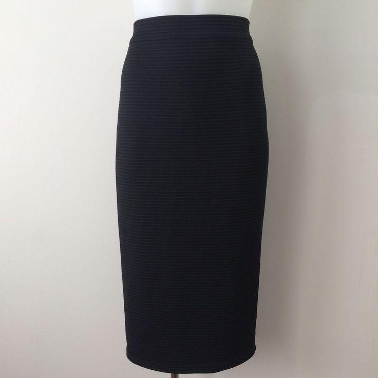 FOREVER NEW Size 8 Black Ribbed Pencil Skirt Back Split Stretch Wiggle Work  | eBay