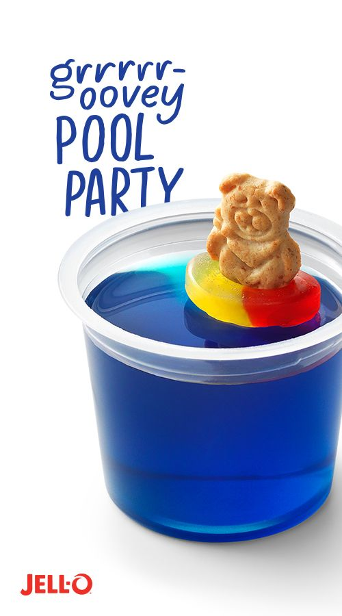 "If you see a bear on the high dive and he growls, ""Cannonball"", you have two options. 1. Accept the fact you're about to be soaked. Or 2. Hope, hope, hope you are having a crazy dream. Make a splash with your little cubs this summer with GRRRRR-OOVEY Pool Party. Party on with JELL-O Blueberry Flavor Gelatin, bear-shaped chocolate graham crackers and ring-shaped chewy fruit snacks. More"