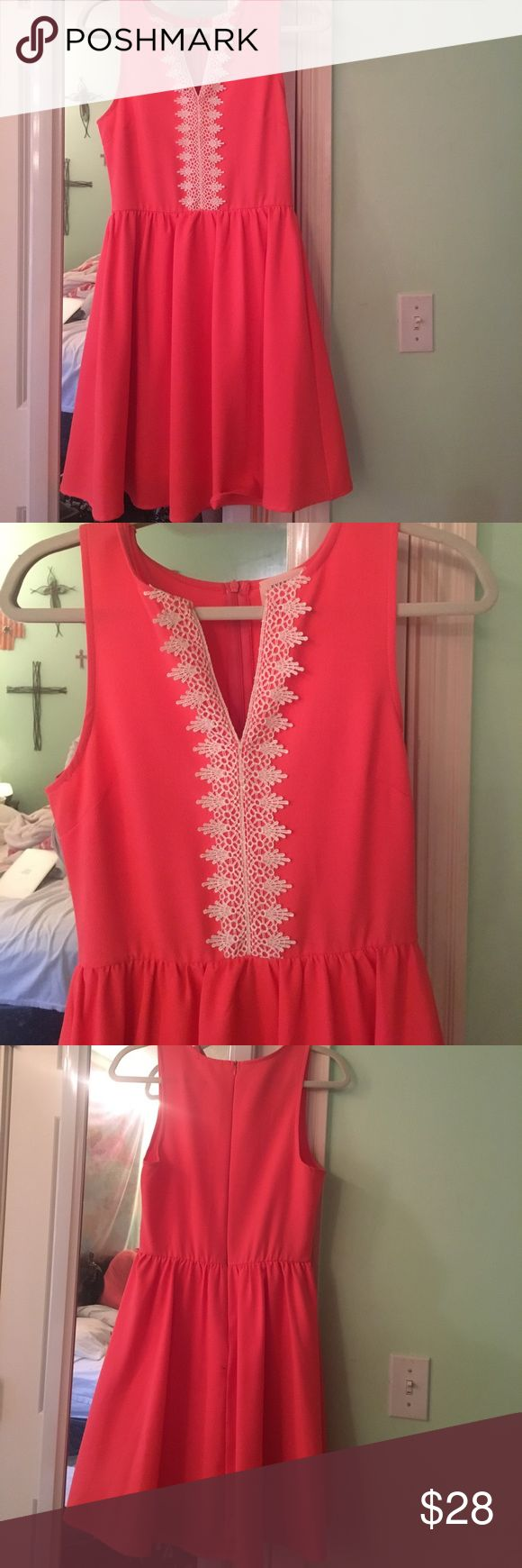 Coral Everly Dress Beautiful coral dress with lace detail. Worn once Everly Dresses