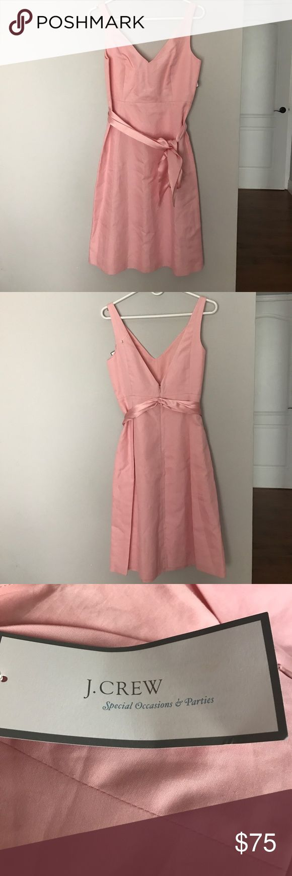 J. Crew cotton cady Lyndsey dress pink Brand new and unworn special occasion dress from J. Crew. Back zipper, tie sash, snaps under straps to hold bra in place. Pretty pink color. J. Crew Dresses Midi