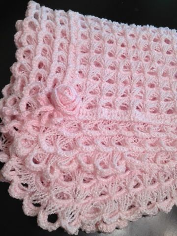 Living Well: Shanti's art work journal: Square broomstick lace baby blanket