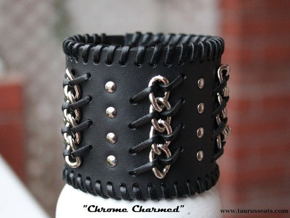 Black Leather Cuff, Wristband for Men, Motorcycle Accessory, Unisex with Chrome Studs, Chrome Chain, and Leather Lacing, Custom Leather