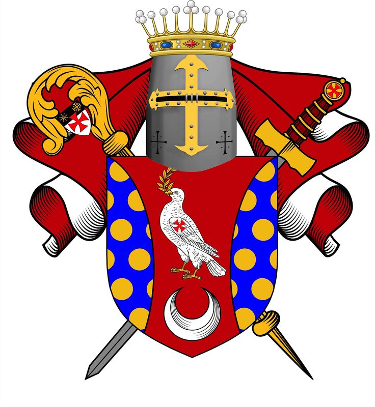 The personal Coat of Arms of Rt. Hon Bishop Count David J. Gagnon, a Hereditary Knight Templar, the Grand Cross Knight of the Temple of Solomon.  One of the original orders of the Knights Templar of 1118AD.