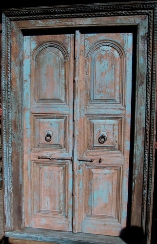 Pair of Anglo Indian Entry doors with beautiful old blue paintwork