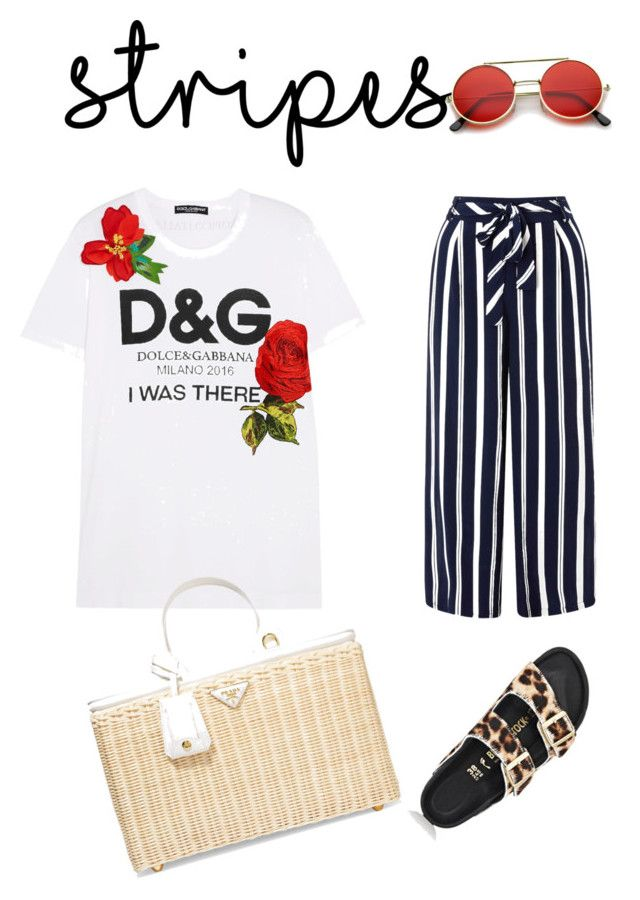"""#stripes #withatwist"" by ralugoii on Polyvore featuring Dolce&Gabbana, Monsoon, Birkenstock and Prada"