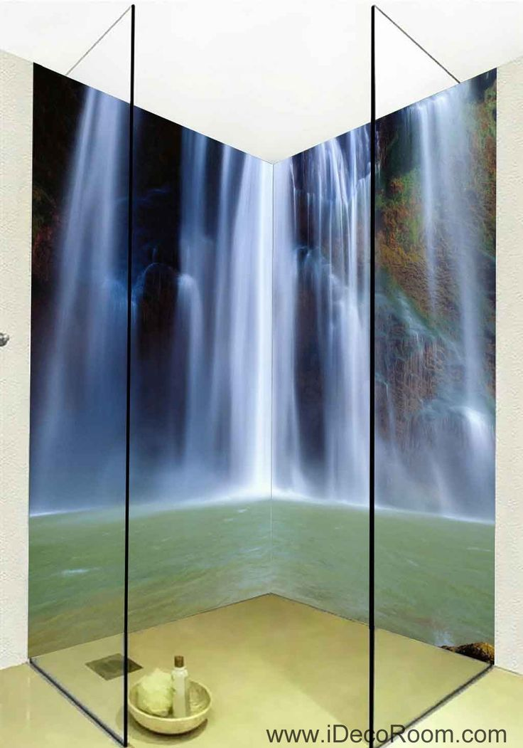 3d wallpaper long waterfall water wall murals bathroom decals wall art print home office decor. Black Bedroom Furniture Sets. Home Design Ideas