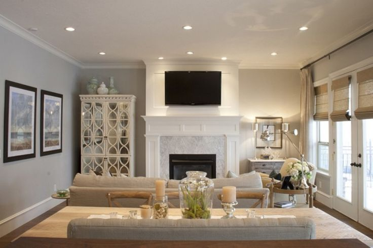 Interior, Fantastic Recessed Lighting Ideas With White Fireplace For White Living Room Decorating: How to Install Recessed Lighting Safely