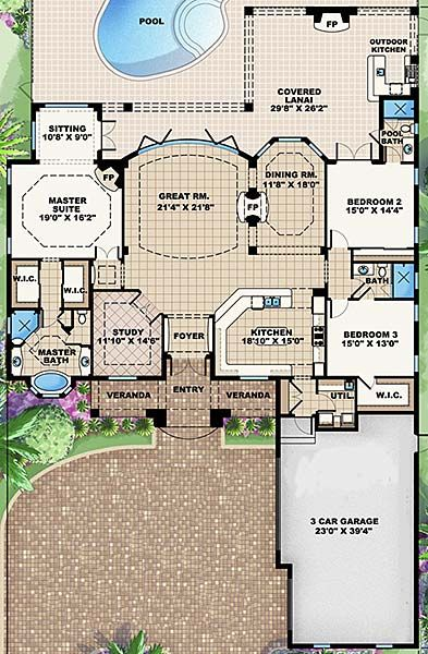 """First floor plan I opened - I always come back to the same type floor plan!  I want it to be OPEN and COMFY!  Coastal Home Plans - Lantana - has the """"pool bathroom"""" idea"""