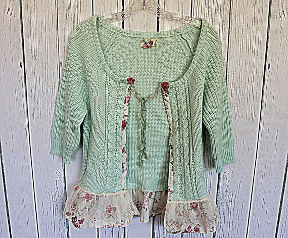 Mint green up cycled vintage sweater with romantic floral sheer fabric as trim. I'd add floral fabric to the sleeves & a floral panel in front.