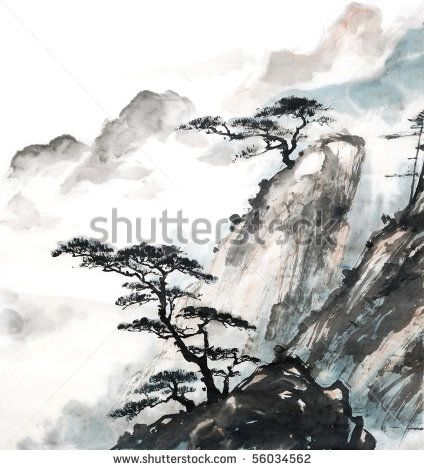 chinese landscape painting - trees