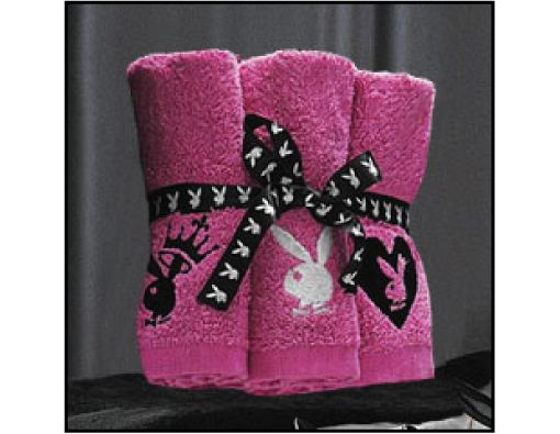 Pink playboy towels