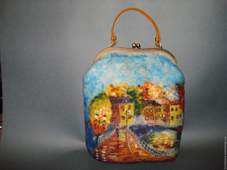"""Купить Сумка валяная """" Дождливый вечер"""" - комбинированный, абстрактный, сумка ручной работы"""