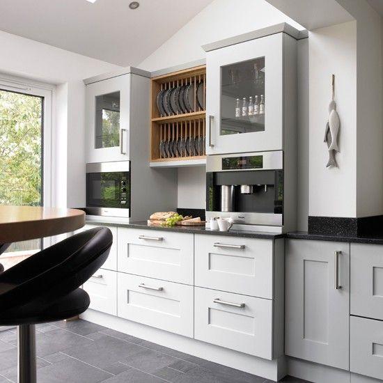 Pale blue oak kitchen
