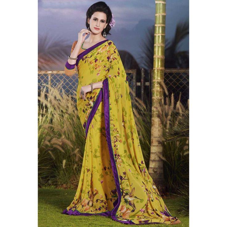 Acheter de magnifiques saris georgette faux online, jaune saree pour diwali, dans la boutique. Andaaz mode apporte la dernière collection de vêtements ethniques de créateurs en FR