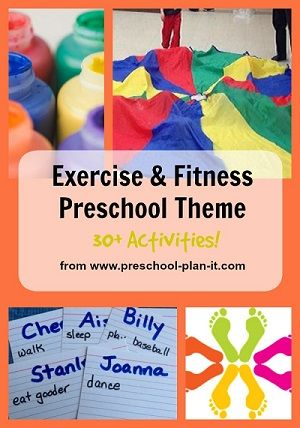 "Fitness and Exercise Preschool Theme Fitness and Exercise are things we should all focus on throughout the year.  1 out of 5 preschool children are in what is considered the ""obesity"" range regarding their weight.  Preschool fitness needs to be a priority in our classrooms.  Let's get them moving! Here are over 30 ideas for all of your preschool interest learning centers!"