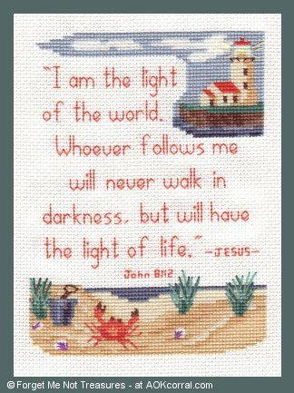 Cross Stitch Scripture Verse  with  Lighthouse and Ocean Beach Theme