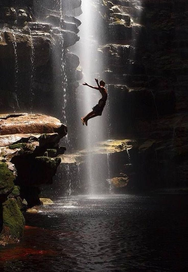 Taking the plunge next to a waterfall. Source: http://amazinglytimedphotos.com/ Online Appearance: http://appearoo.com/SubratoPaul