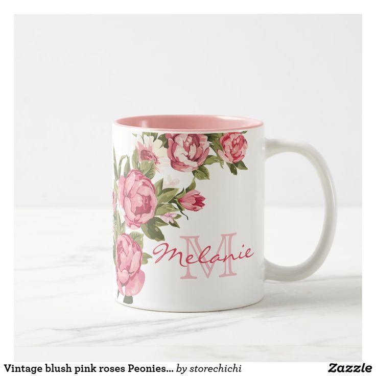 Vintage blush pink roses Peonies name, monogram Mug