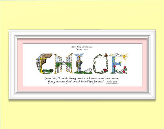 First communion gifts for Girls using letters from The Christian Alphabet™ to create a unique, personalized Christian name artwork. We also
