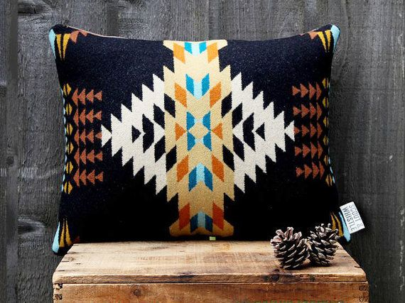 Geometric Wool Pillow // Echo Black / cream / door ScoutandWhistle, $75.00