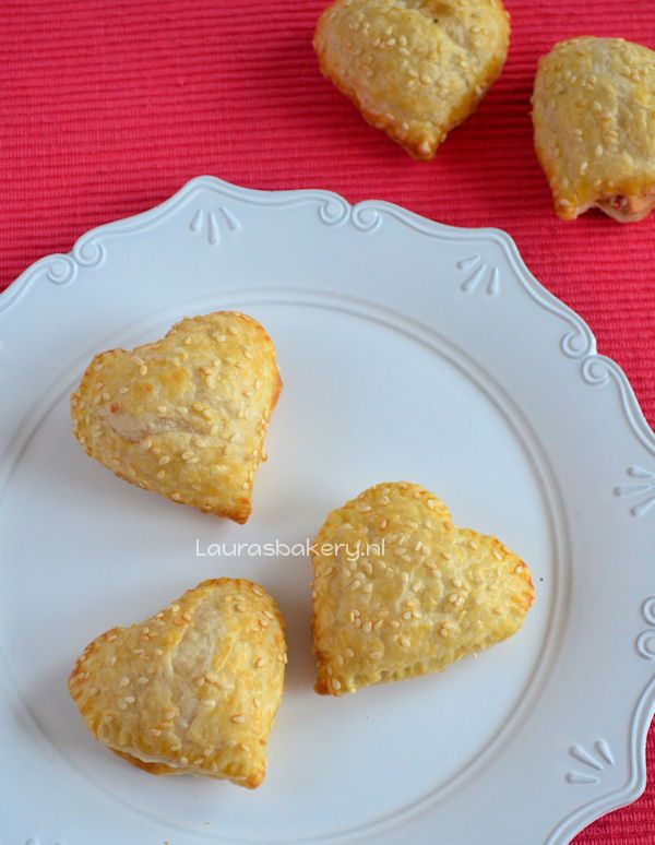 Savory filled puff pastry Valentine hearts