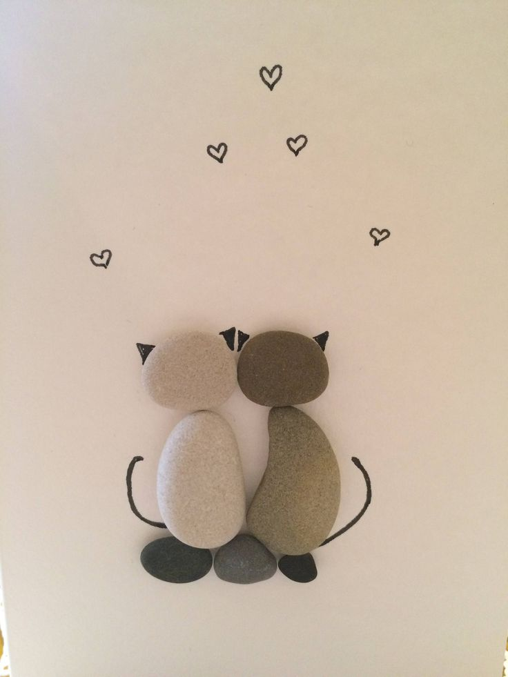 Greeting card with Cats, Cat lover Gift idea, Two Cats, Couple Cats, Love cats, Love Gift, Pebble art, Stone Art, Rock Art, Handmade card